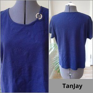 TanJay Embroidered Feather Top w/Metal Ring Accent
